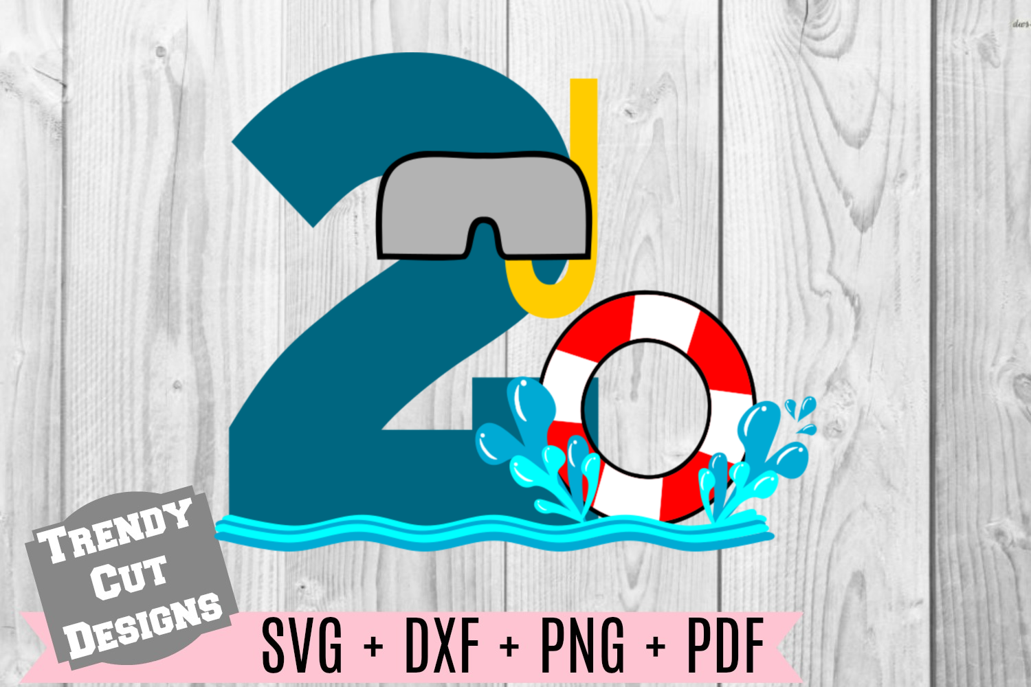 Pool Party Number 2nd Birthday SVG example image 1