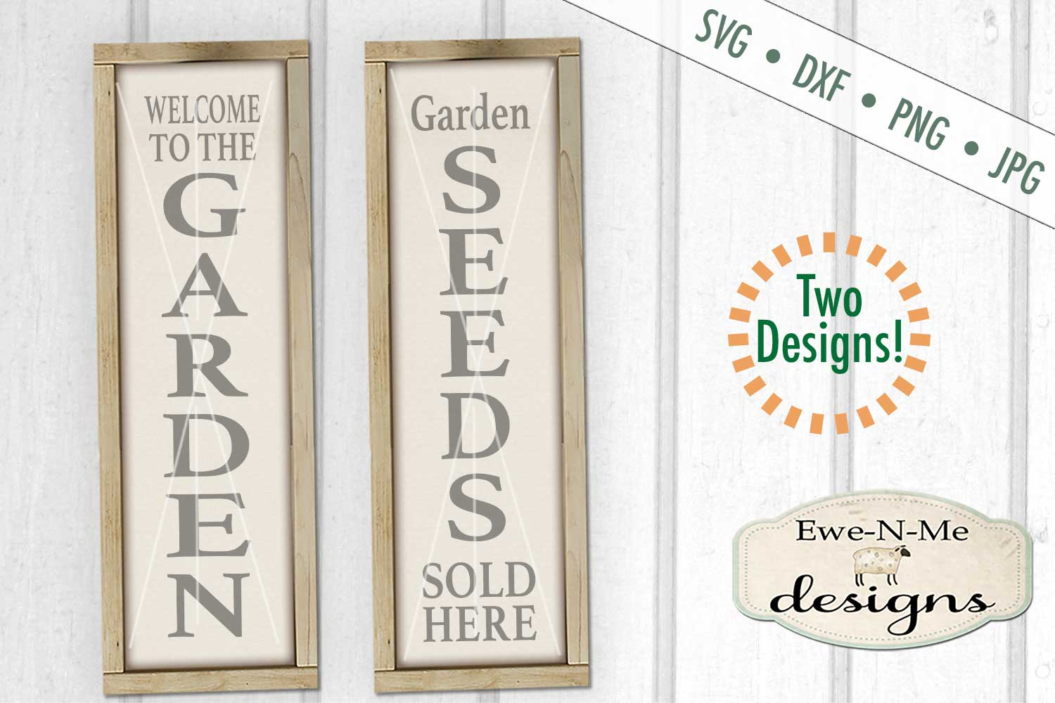 Garden Seeds Vertical Porch Sign SVG DXF Files example image 1