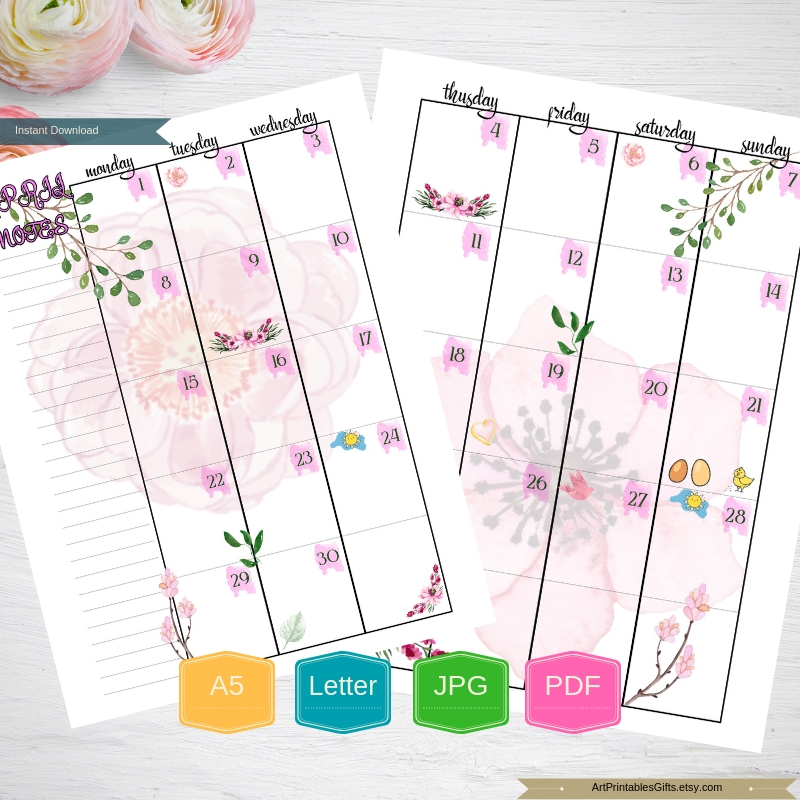 Monthly Planner Printable Happy pages, Month Organizer, A5 example image 5