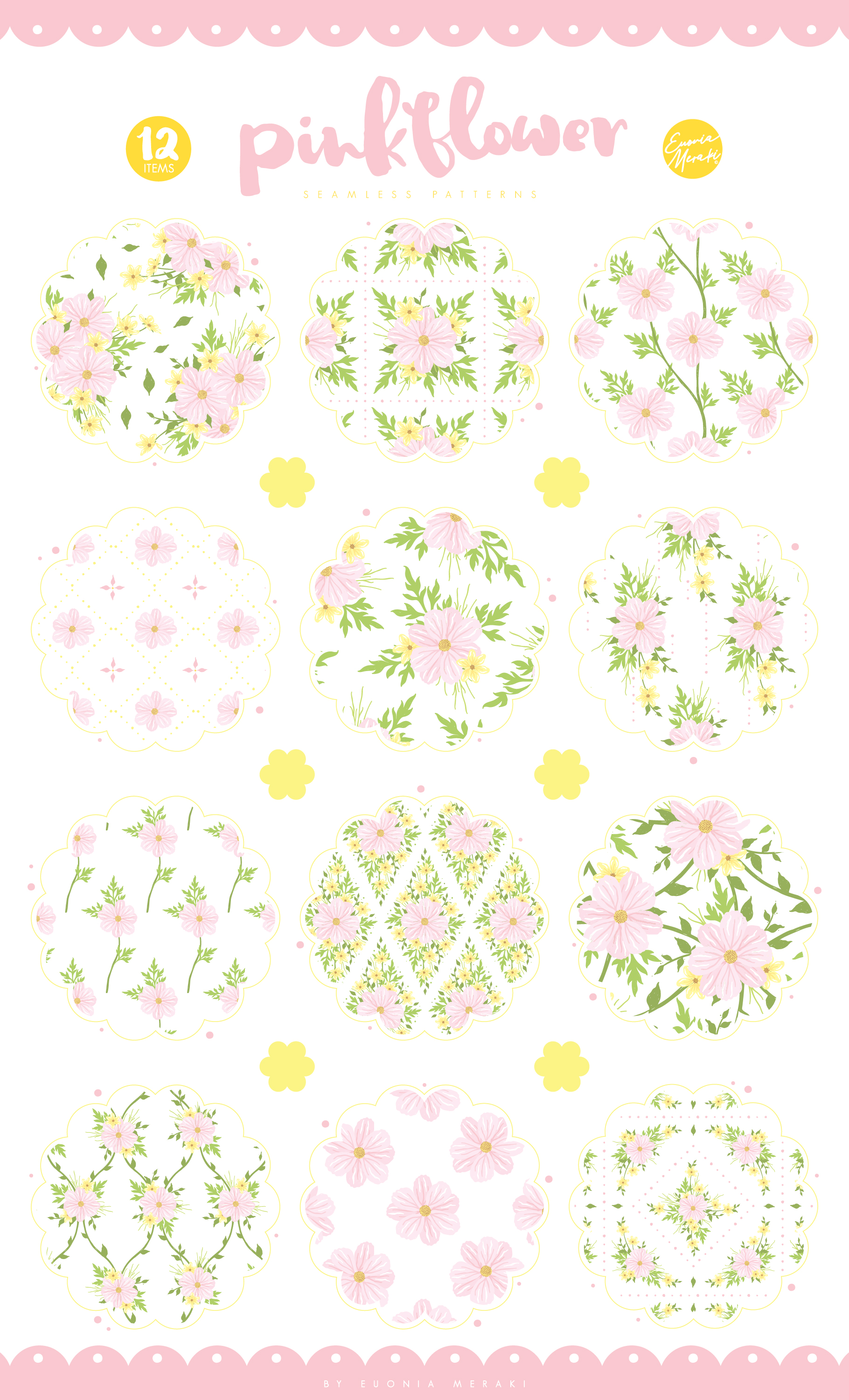 Pink Flower Seamless Patterns example image 2