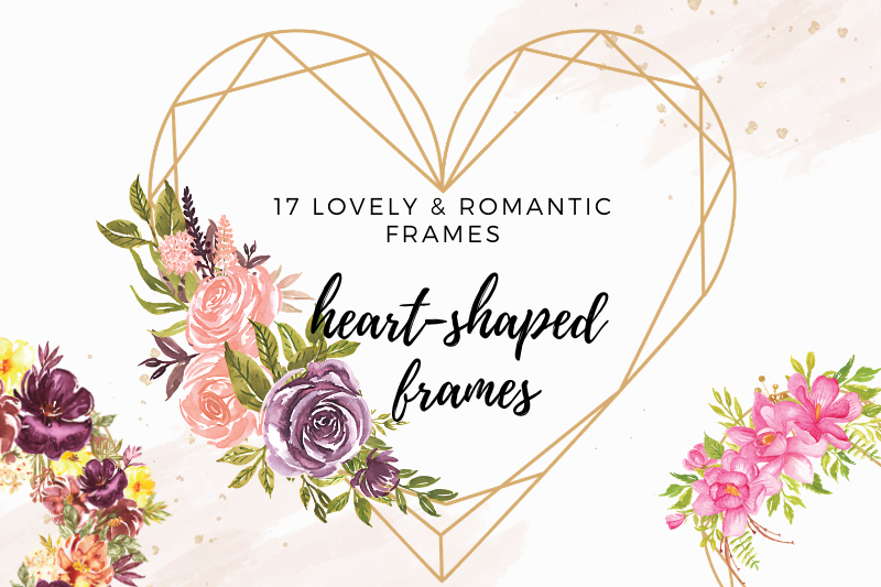 Heart Shaped Watercolor Flowers Frames, Geometric Gold Frame example image 1