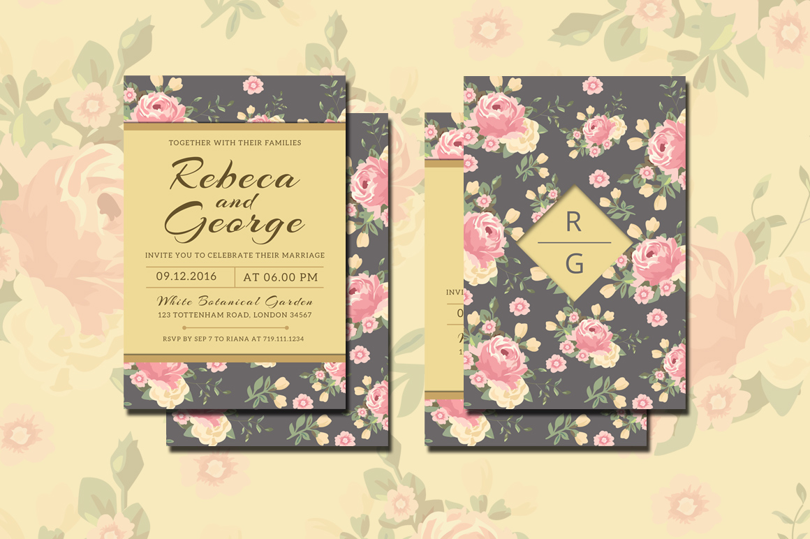 Floral Wedding Invitation example image 3