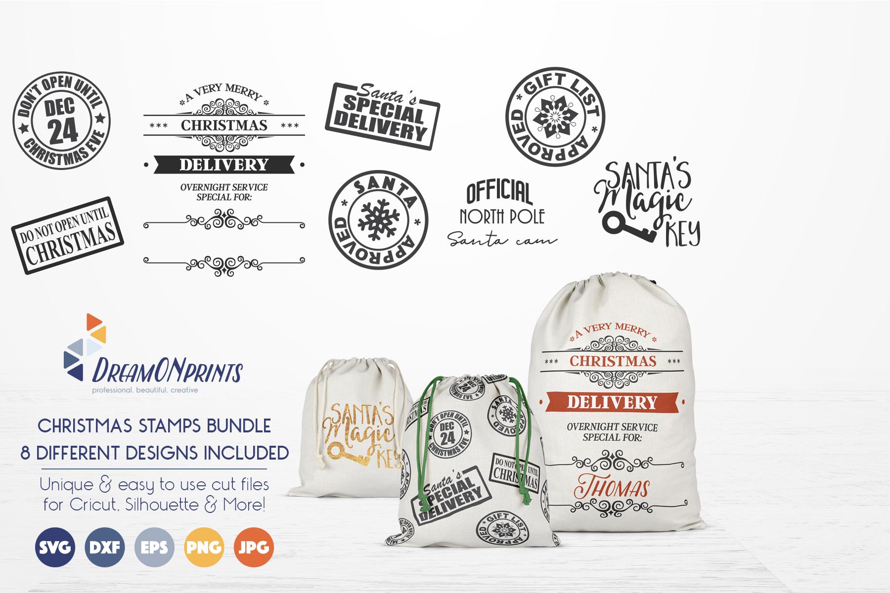 Christmas Stamps & Santa Sack SVG Bundle example image 5