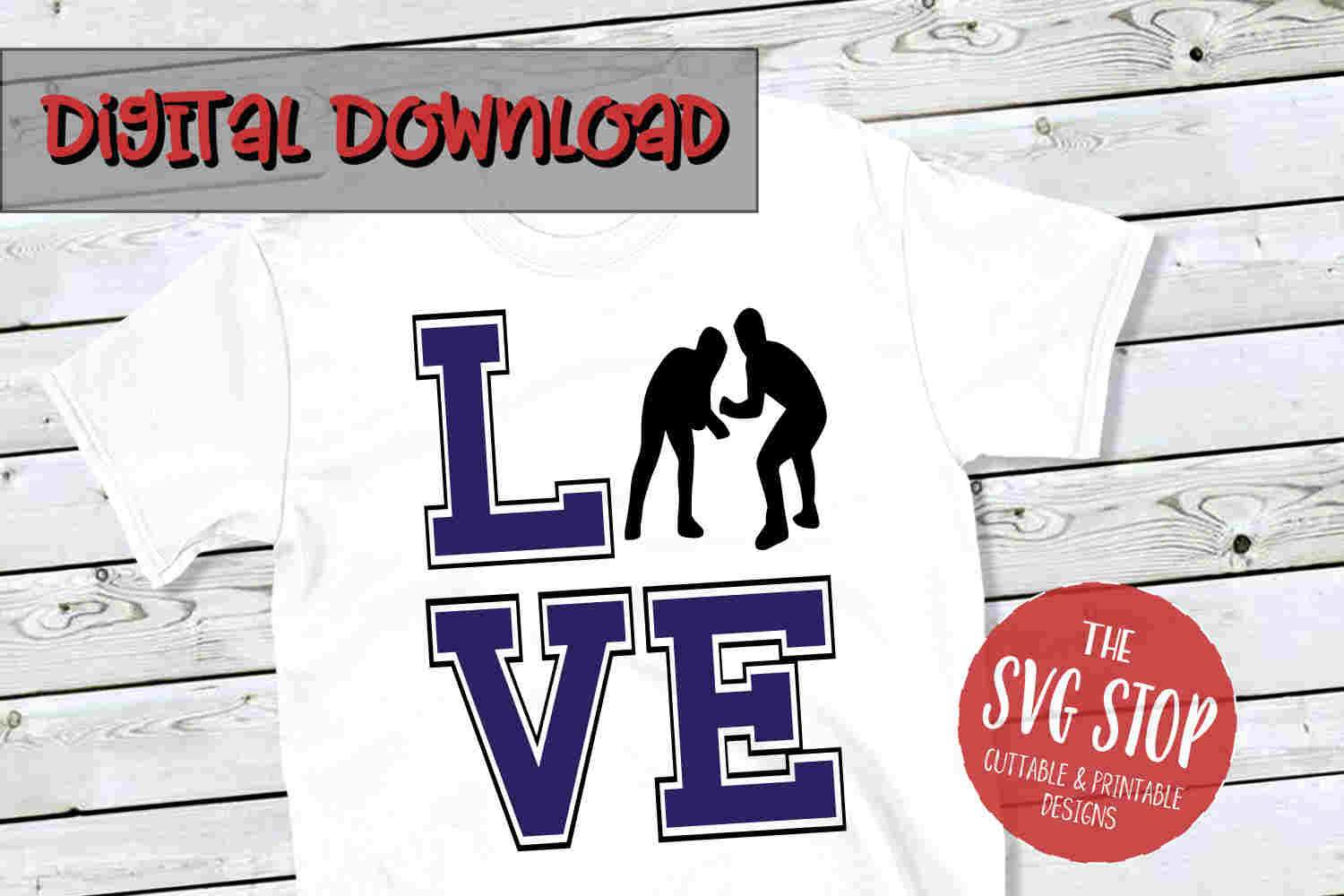 Love Wrestling Boys -SVG, PNG, DXF example image 1