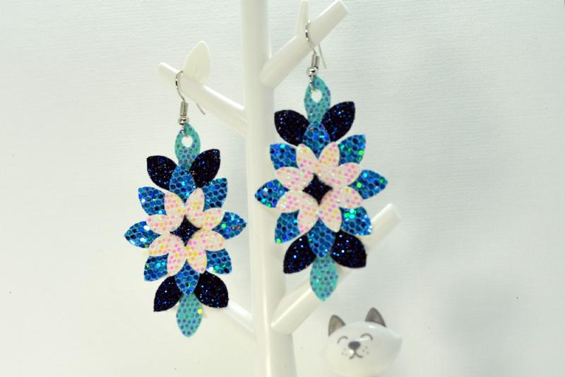 Flower earrings template SVG, DIY earrings template bundle example image 2