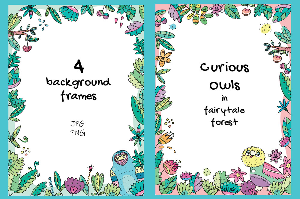 Floral Owls - 55 objects example image 13