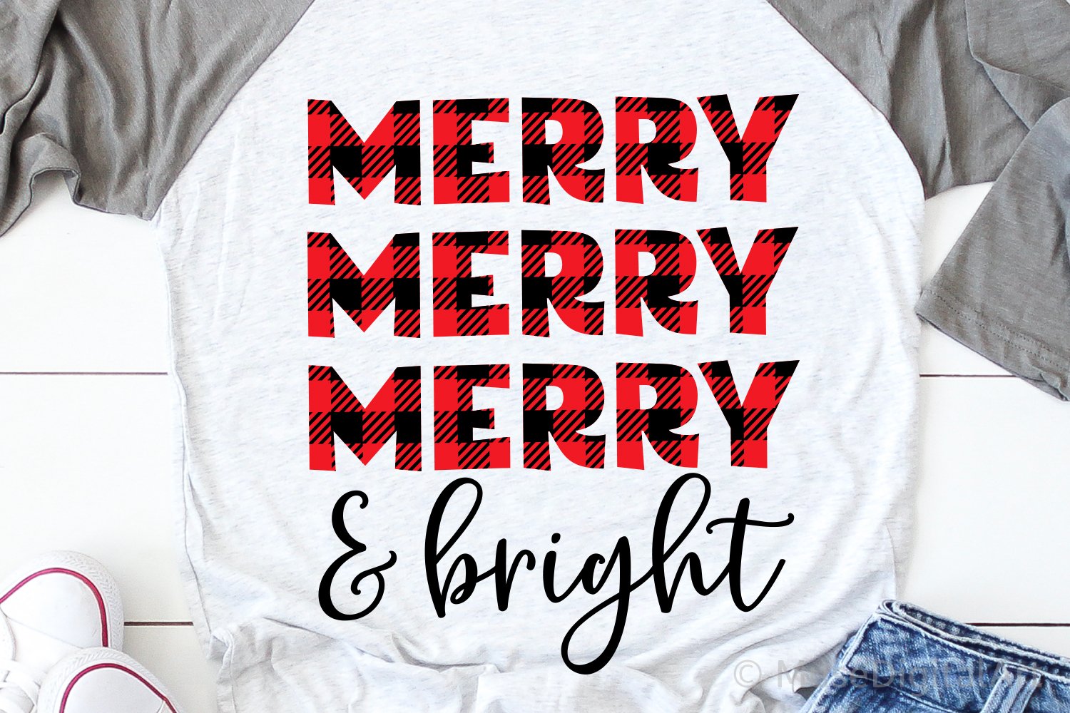 Merry and Bright Svg, Christmas Svg, Buffalo Plaid Svg File example image 1