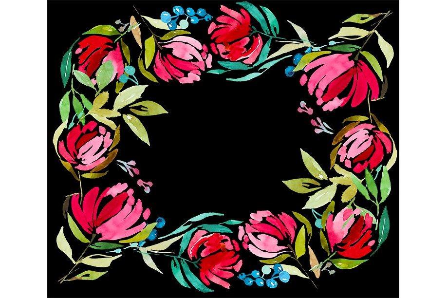 3 Watercolor Digital Frames example image 2