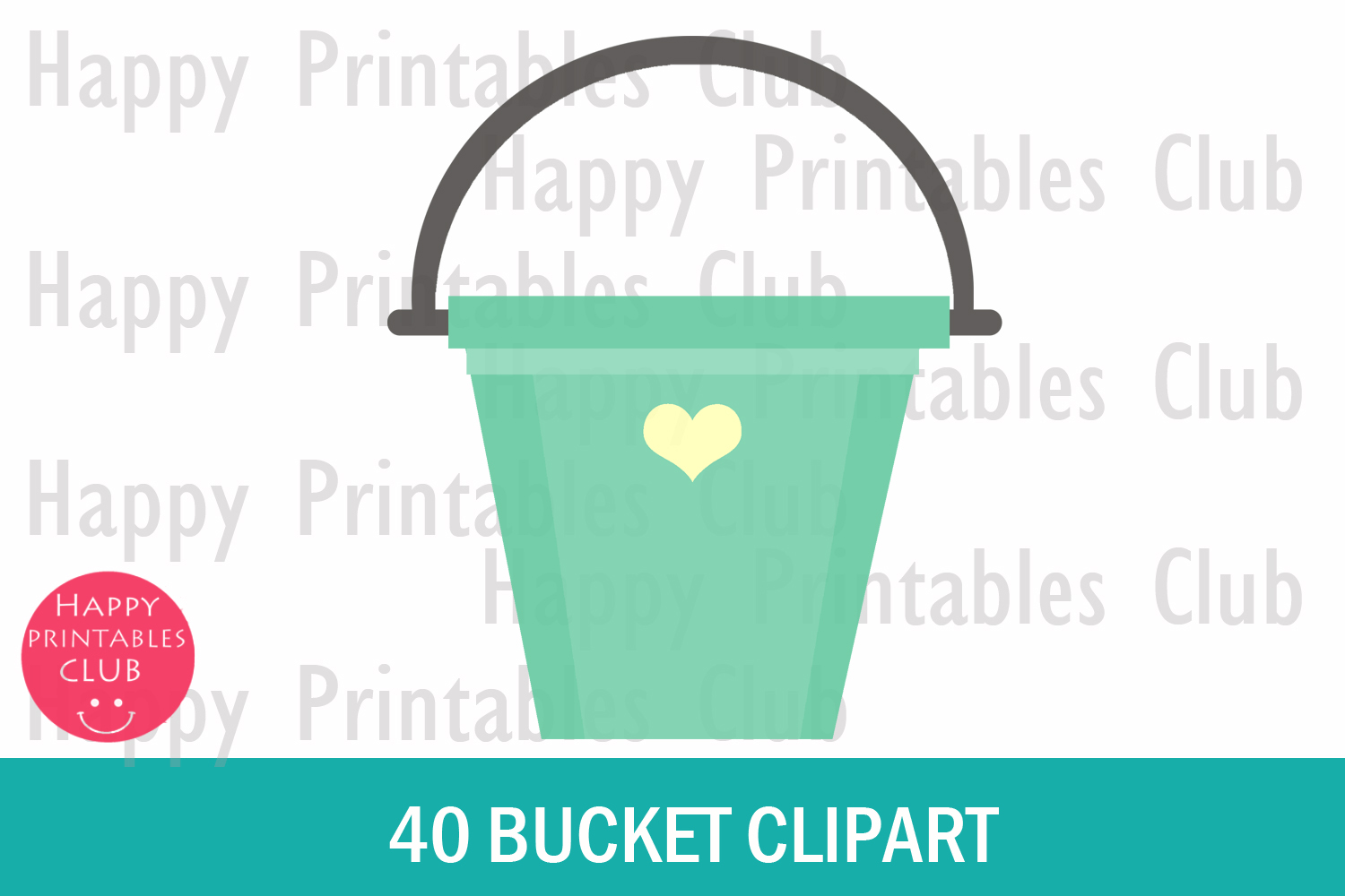 40 Bucket Clipart- Rainbow Bucket Clipart- Colorful Buckets example image 2
