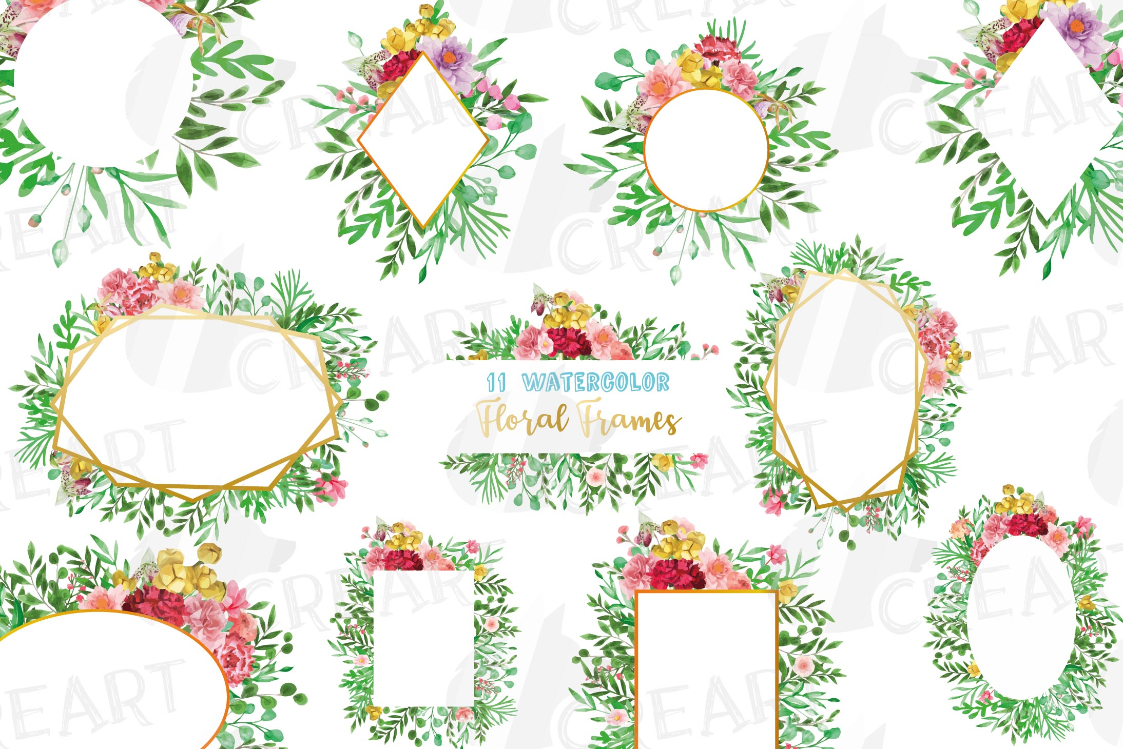 Watercolor floral floral frames and borders clip art pack example image 1