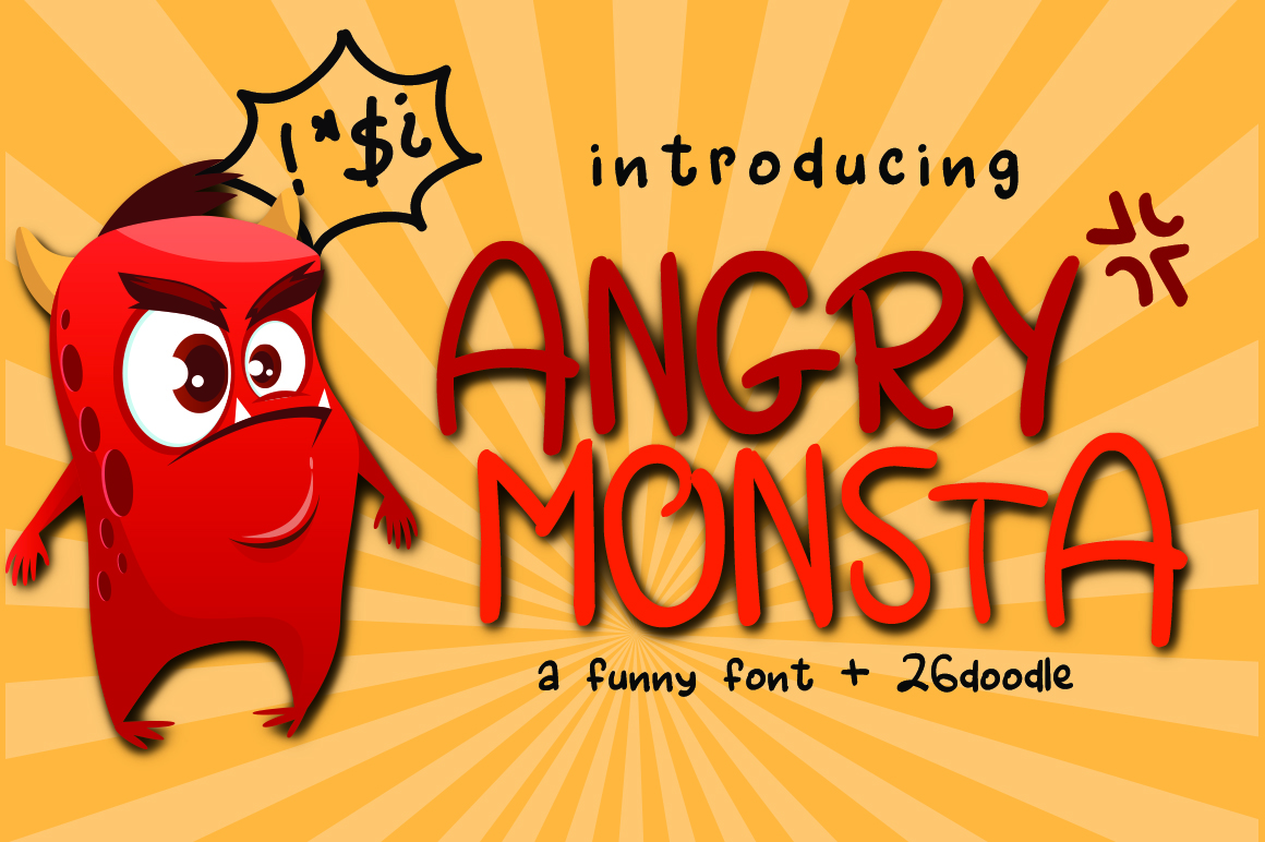 Angry Monsta - A Funny Font with doodles example image 1