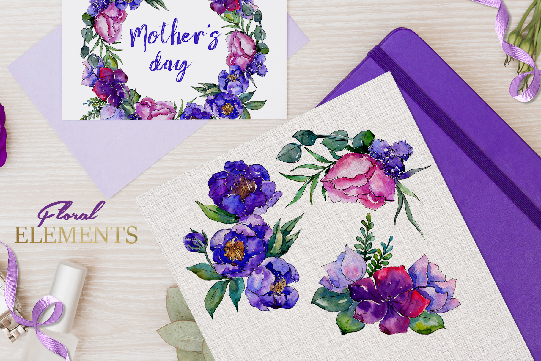 Bouquets of purple flowers Watercolor PNG example image 7