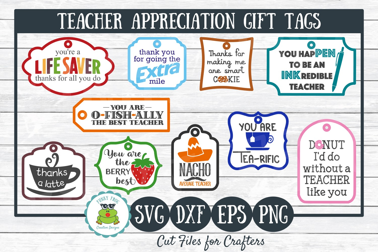 Teacher Appreciation Gift Tags-Print and Cut, SVG Cut Files example image 1