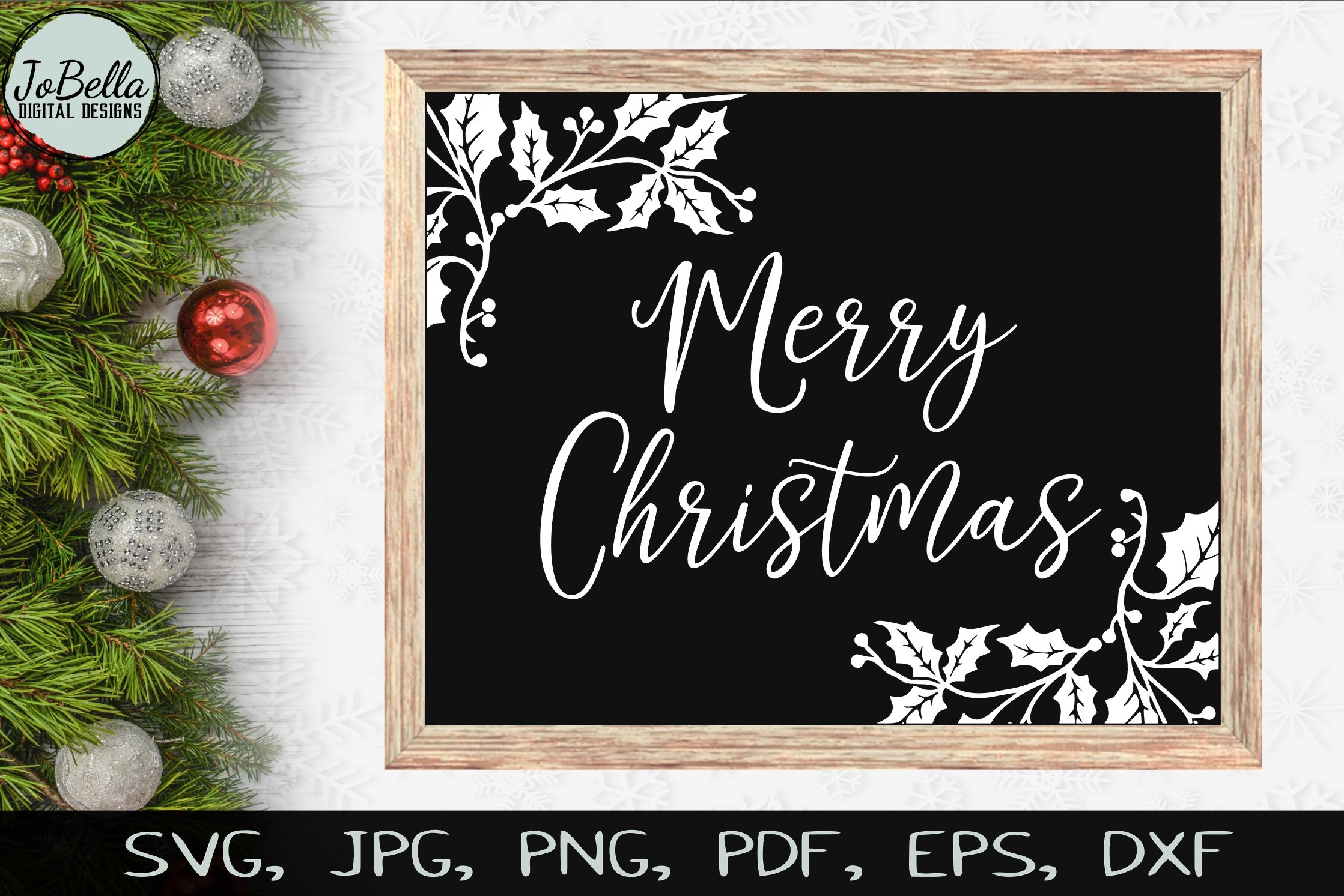 Holly Merry Christmas SVG, Sublimation PNGs, & Printables example image 1