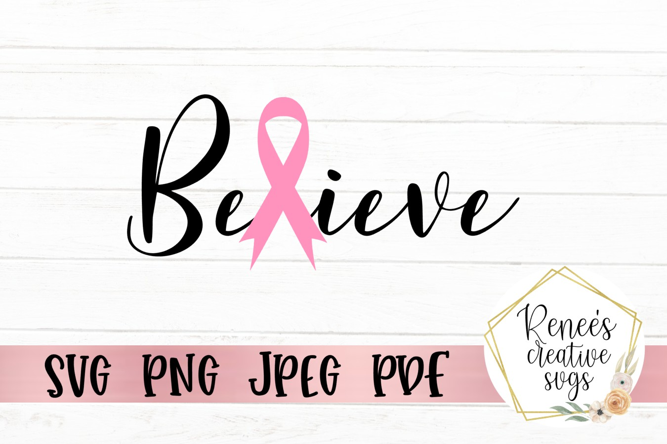 Believe Breast Cancer Ribbon|Breast cancer awareness SVG example image 2