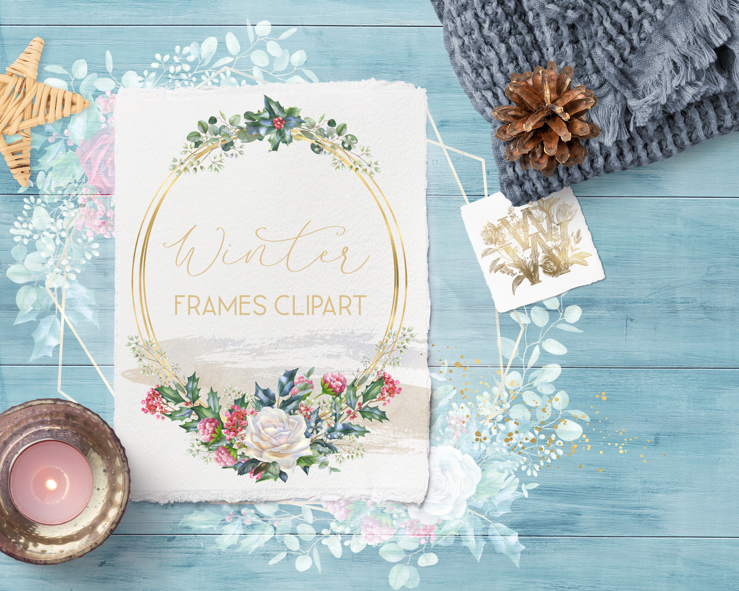 Winter frames clipart, watercolor Christmas borders png example image 5