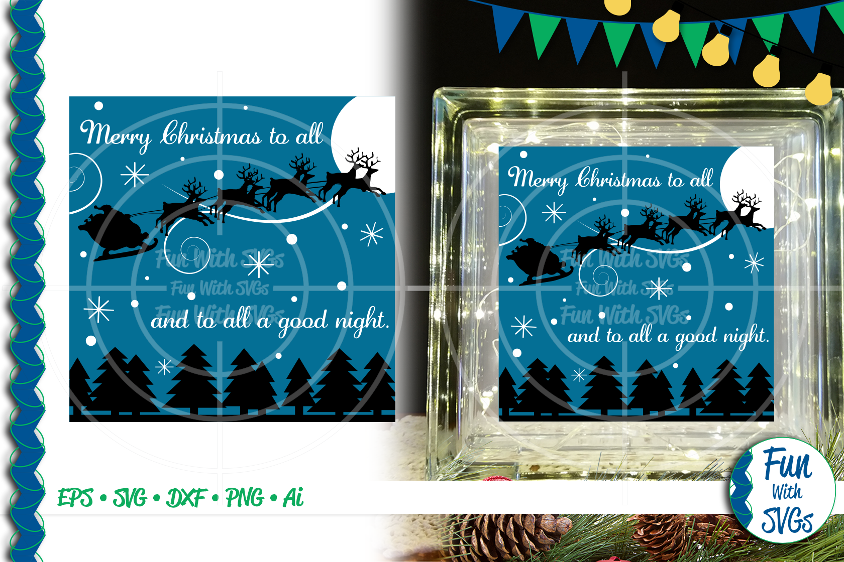 SVG Merry Christmas To All Glass Block Cut File, FWS459 example image 1