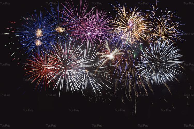 Blue, golden and red celebration fireworks example image 1