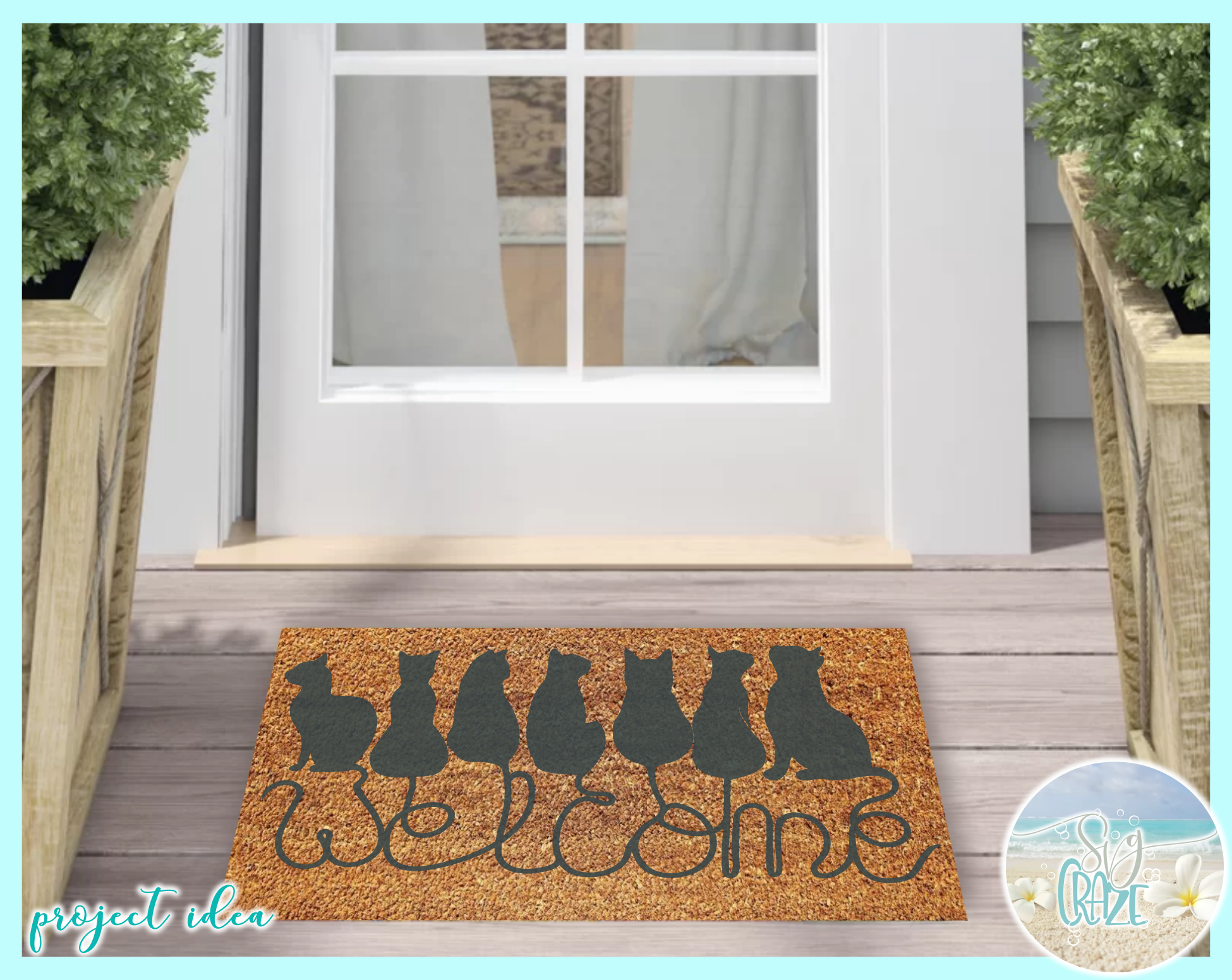 Cats Welcome Coir Door Mat Design Svg Dxf Eps Png Pdf Files example image 2