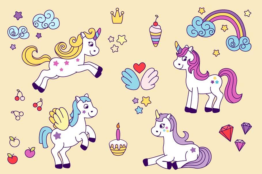 Unicorns vector set and alphabet bonus example image 6