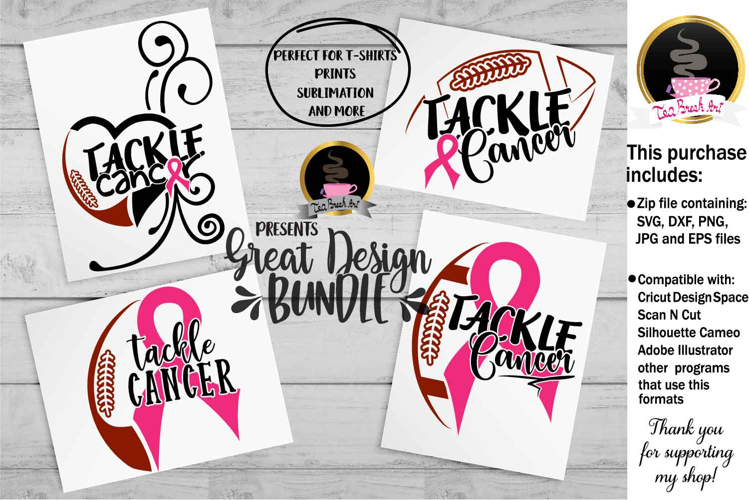 Tackle Cancer Breast Cancer Awareness Set Cutting Files 1064 example image 1