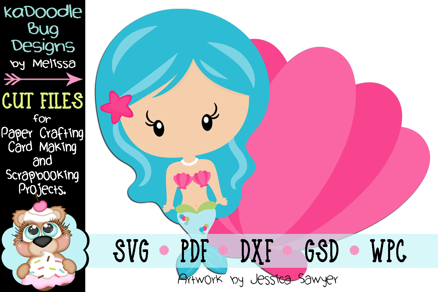 Underwater Shell Mermaid Cut File - SVG PDF DXF GSD WPC example image 1