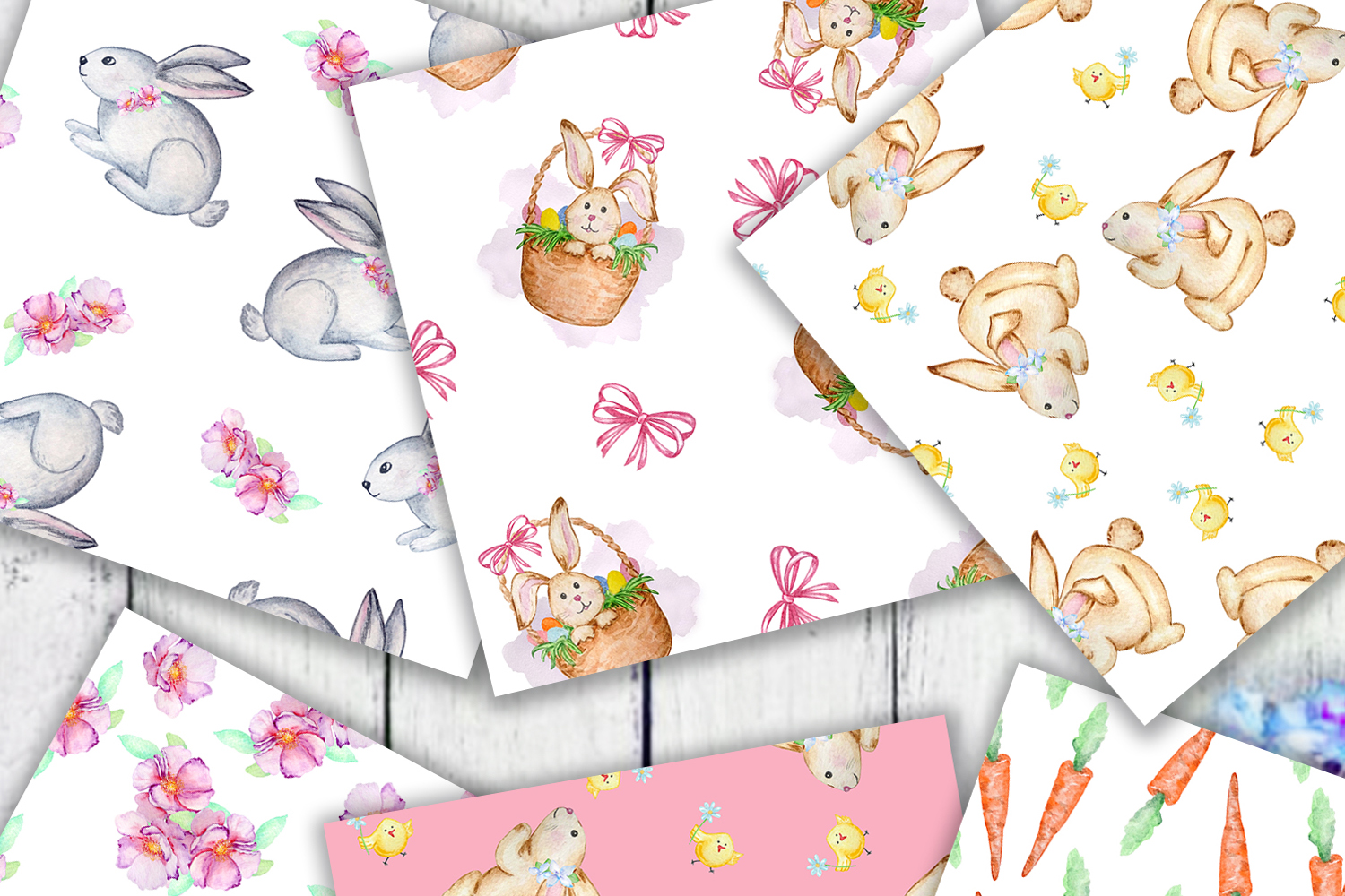 Watercolor Cute Bunny Seamless Paper Pattern example image 4