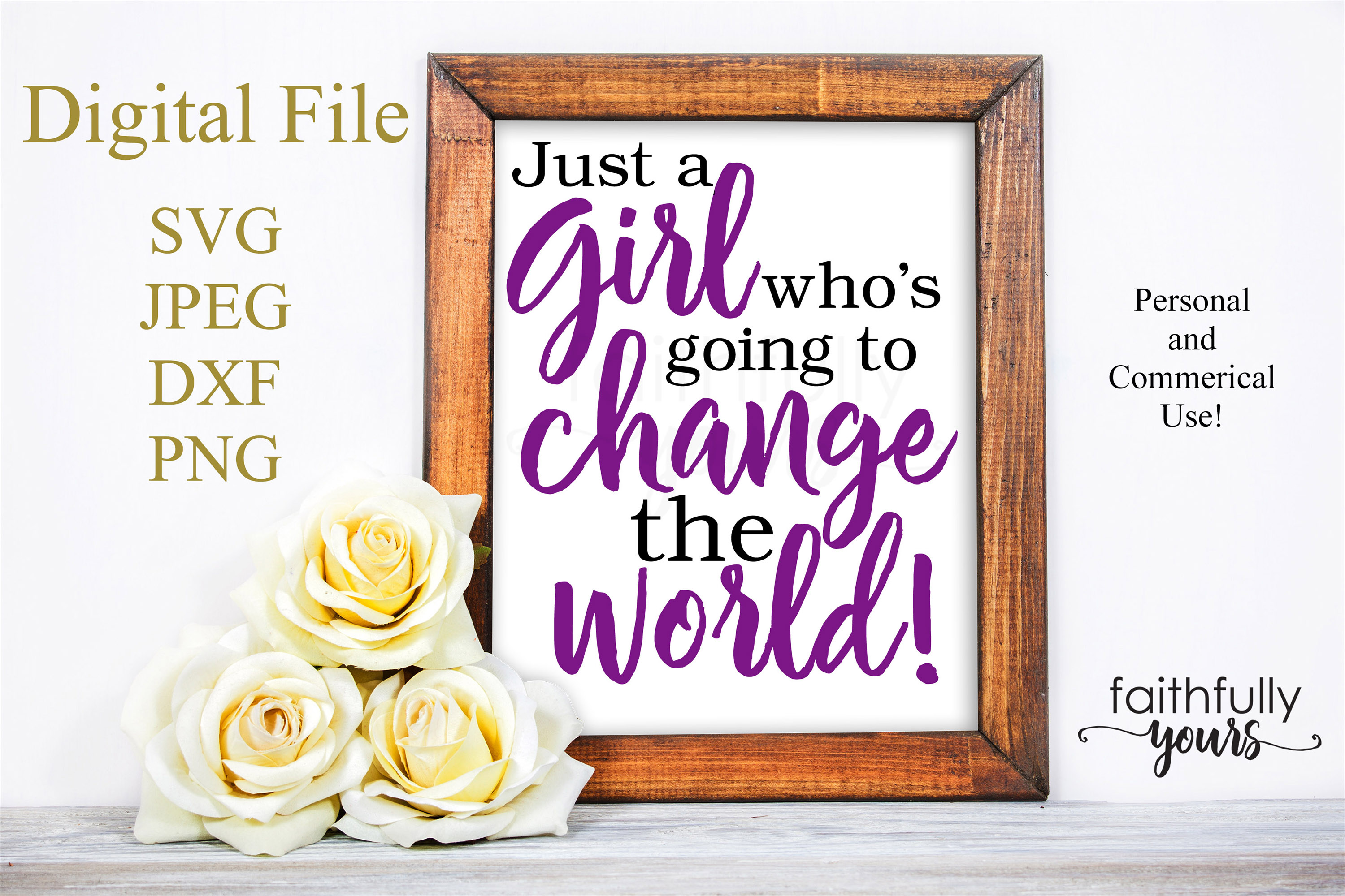 Just a girl who's going to change the world svg digital example image 1