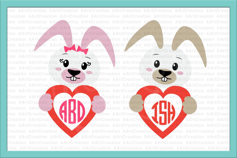 Easter Bunny rabbit heart monogram boy girl to cut digitals example image 3
