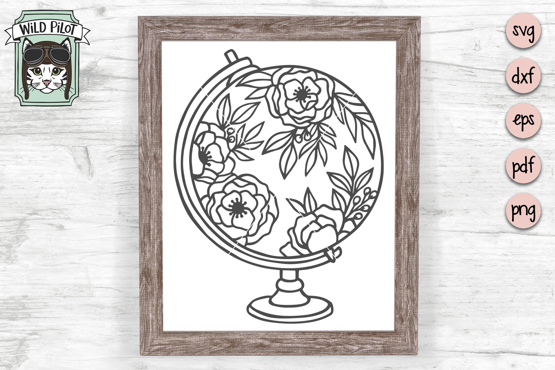 Floral Globe svg file, Flower Globe cut file, Travel svg example image 1