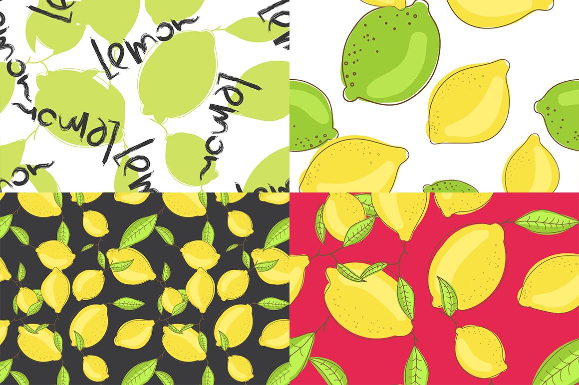 Lemon citrus pattern - set of 8 example image 4