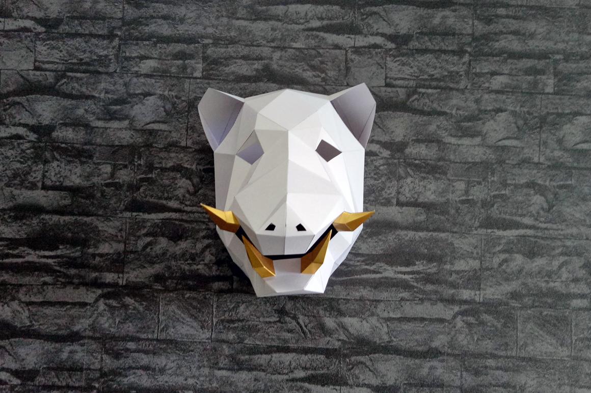 DIY Boar Trophy - 3d papercraft example image 7