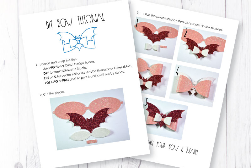 Hair bow template SVG, DIY leather bow template example image 4