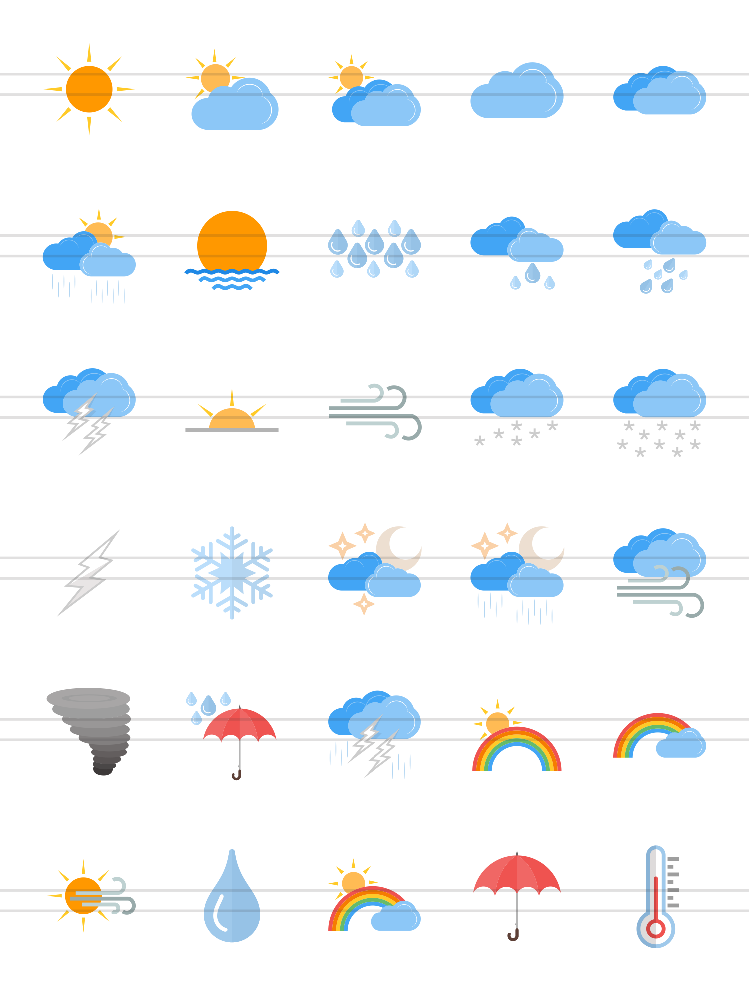 30 Weather Flat Multicolor Icons example image 2