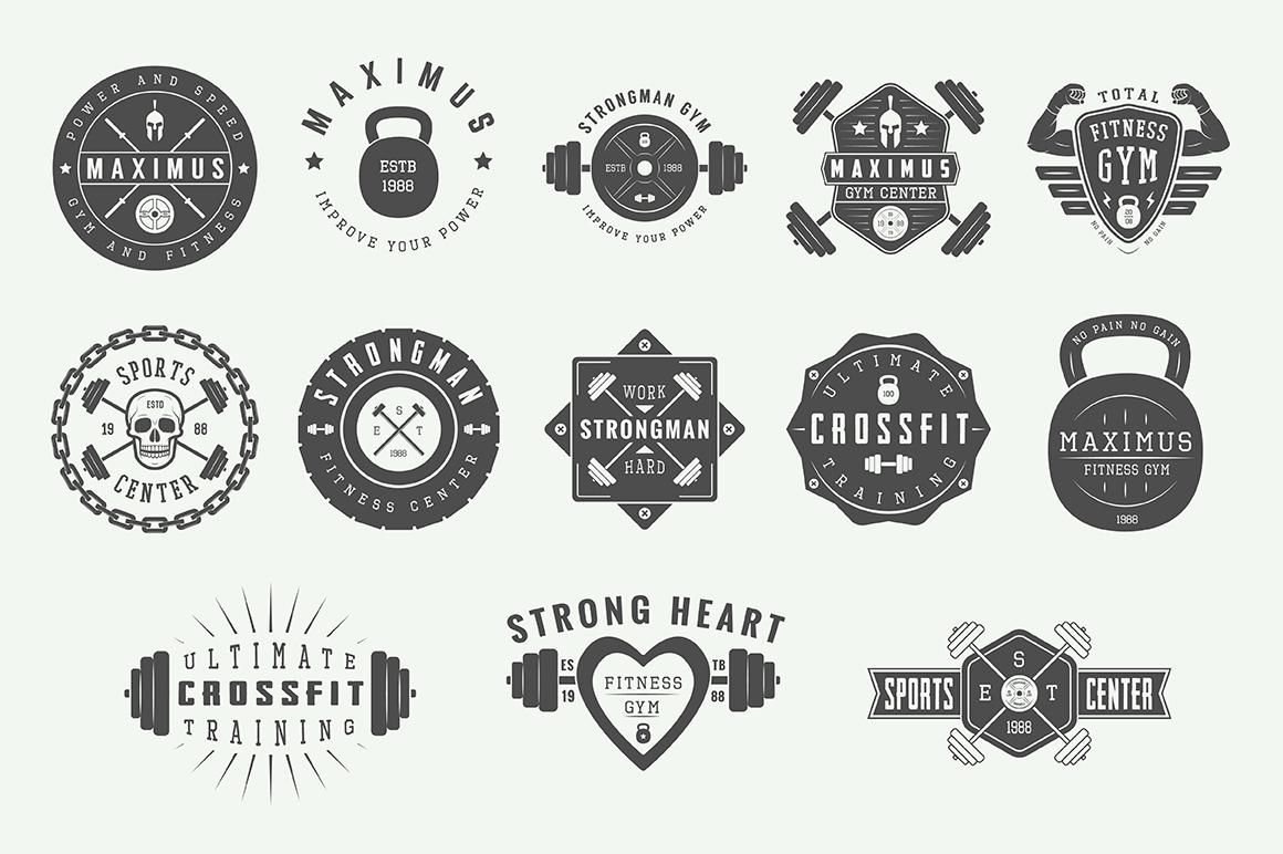 Vintage Gym Emblems Bundle example image 3