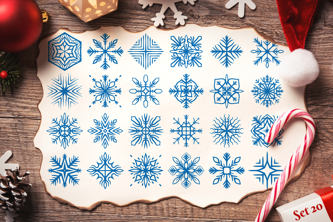 500 Snowflake Vector Ornaments example image 29