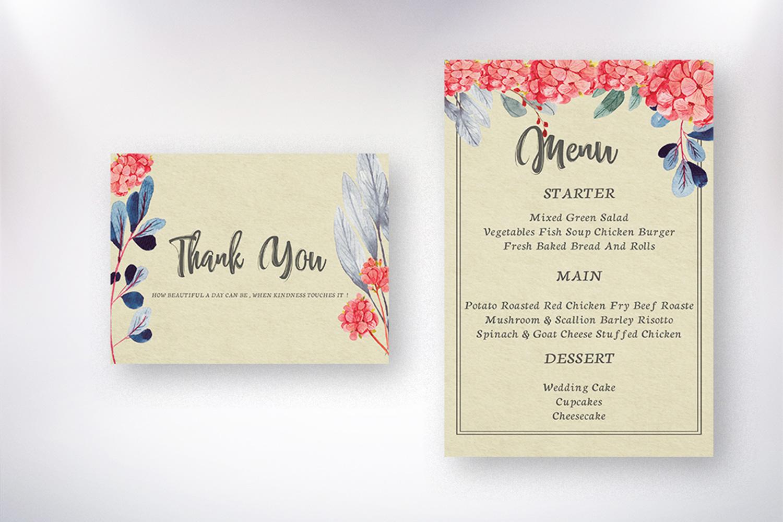 Watercolor flower Wedding invitation set example image 6