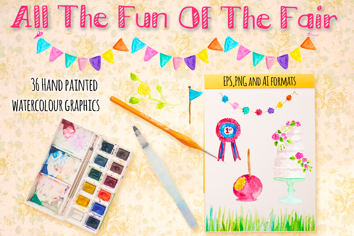 Fairground Carnival Watercolor Paintings Bundle example image 1