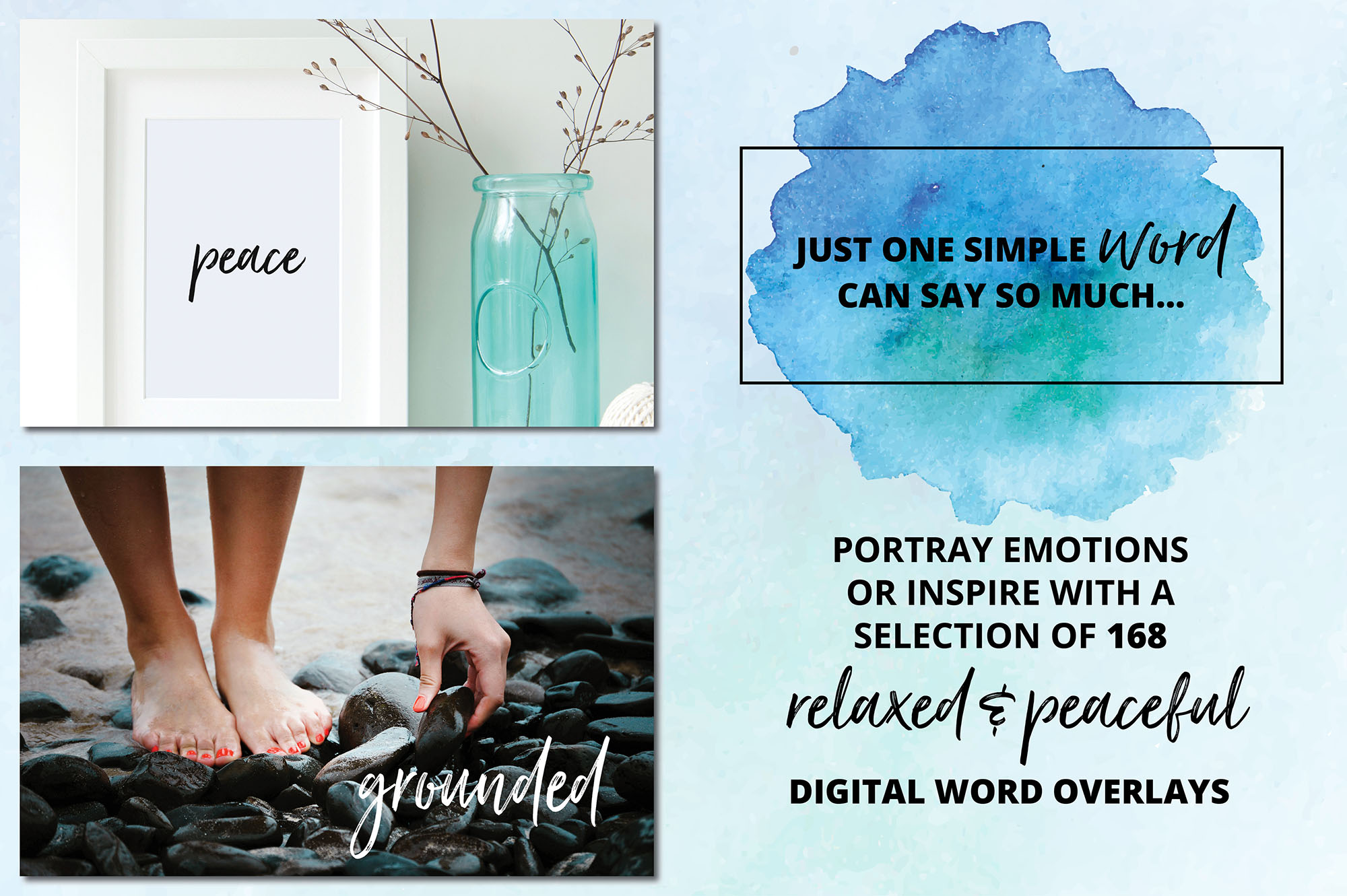 Digital Word Overlay BUNDLE - 320 Peaceful & Safe Emotions example image 3