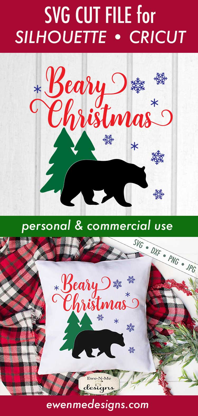 Beary Christmas - Bear - Snowflake - Winter - SVG example image 3