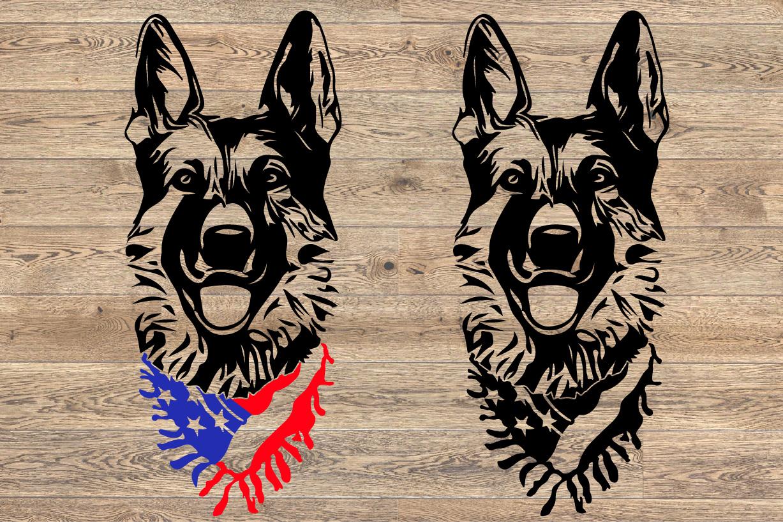 German shepherd dog head whit Scarf US flag SVG 1276s example image 2