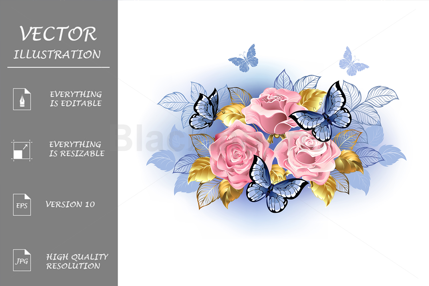 Three Pink Roses with Butterflies example image 1