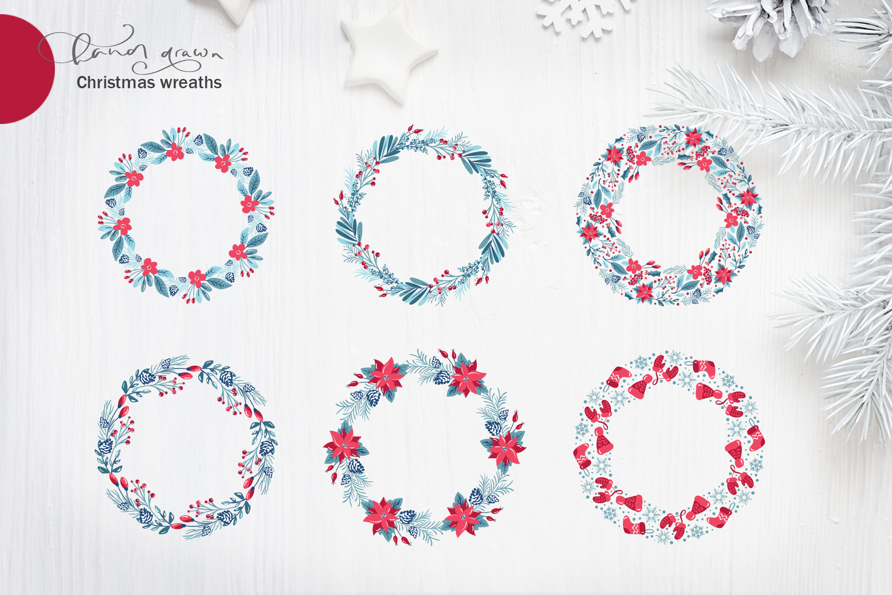 Christmas floral holiday elements example image 7