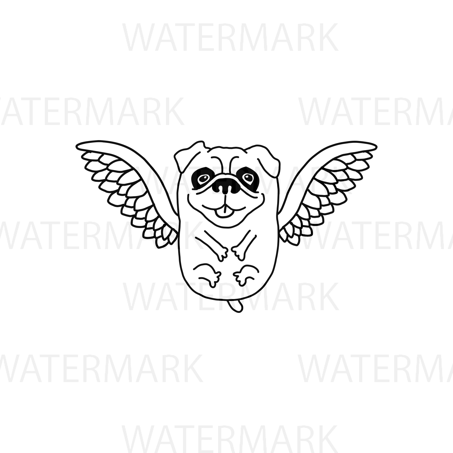 Flying Pug Dog with bird wings - SVG/JPG/PNG Hand Drawing example image 3