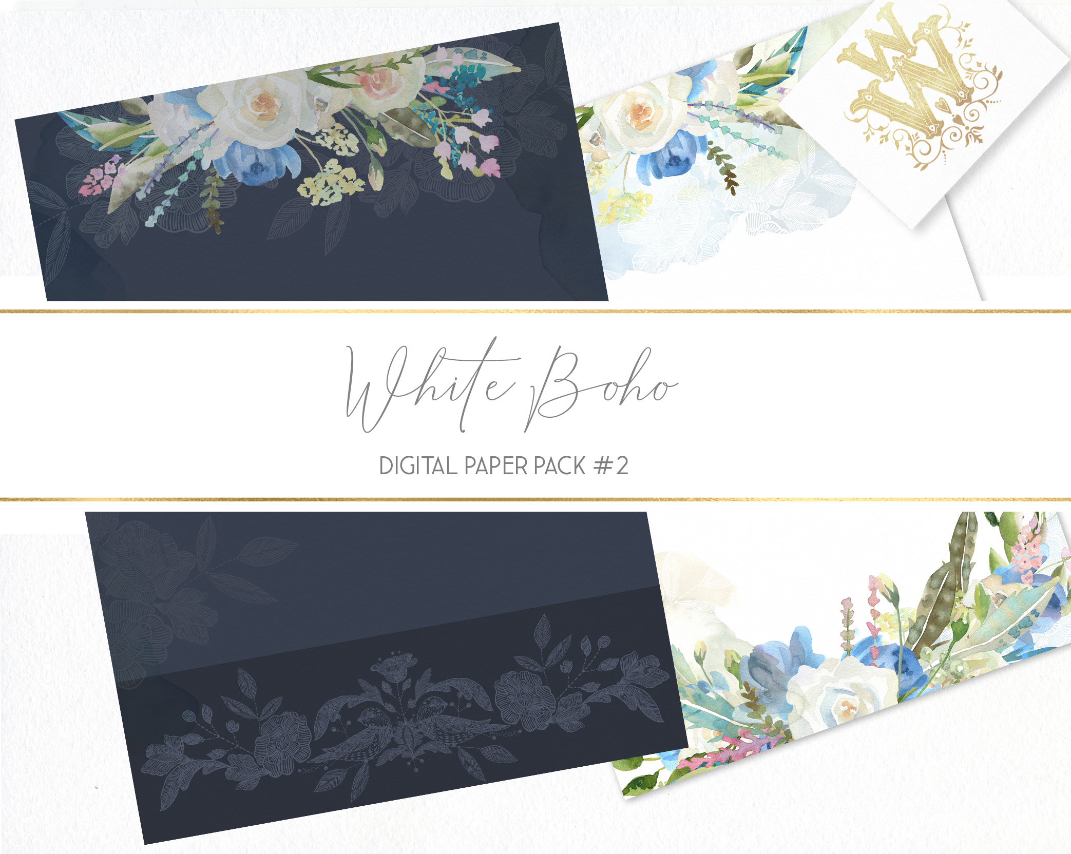 Boho chic digital paper pack, watercolor floral seamless example image 6