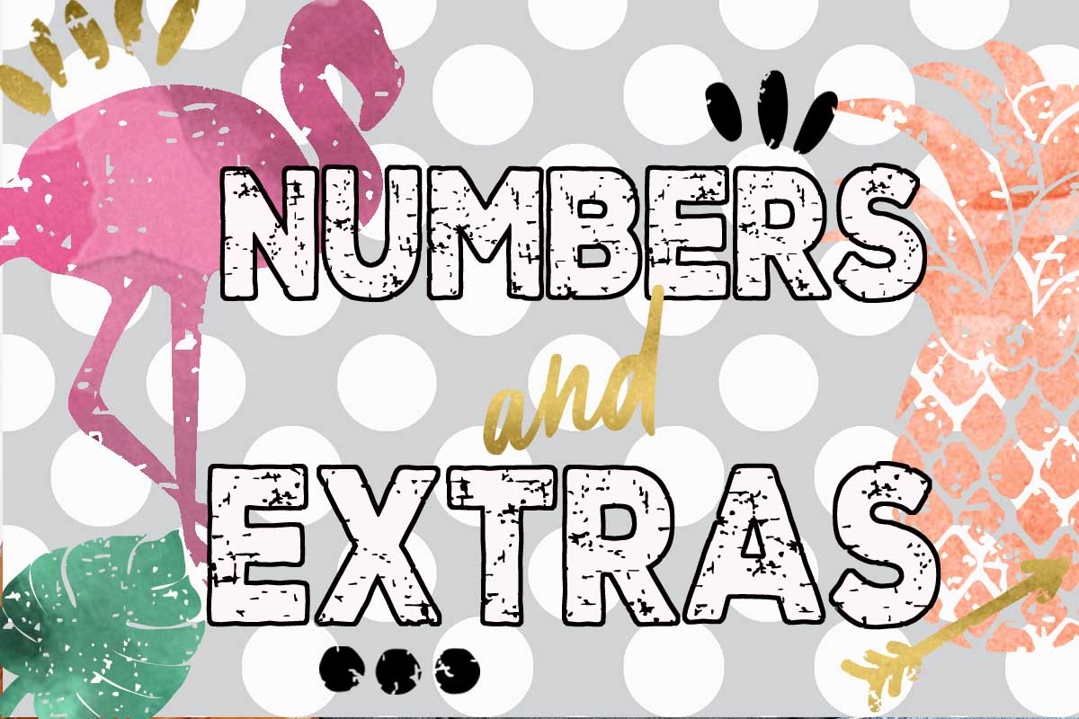 SUPER Grunge Font with Extras. Flamingo and Pineapple example image 2