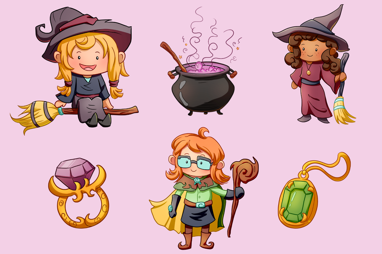 Playful Witches Fantasy Clip Art Collection example image 3