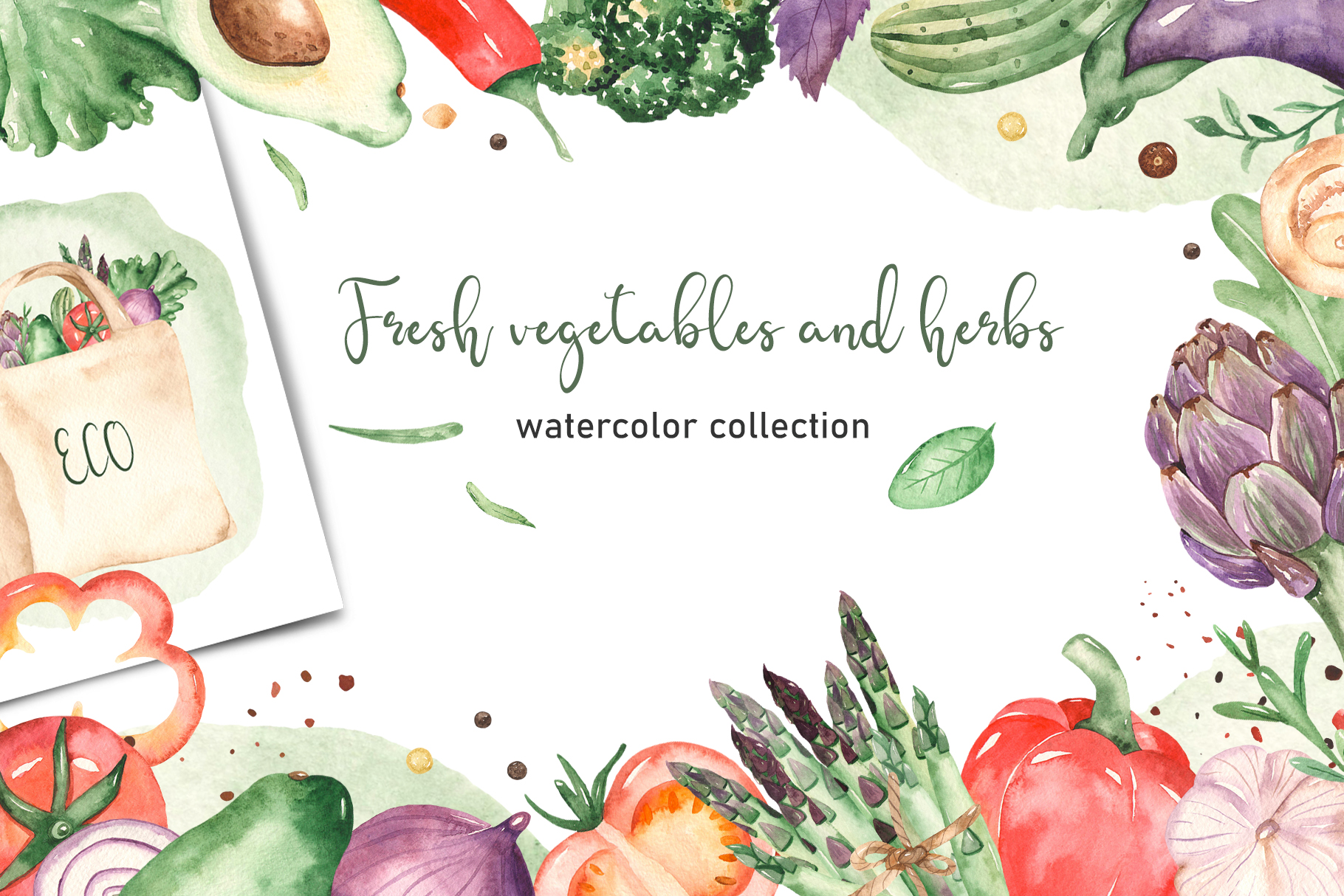 Vegetables and herbs Watercolor collection Clipart example image 1