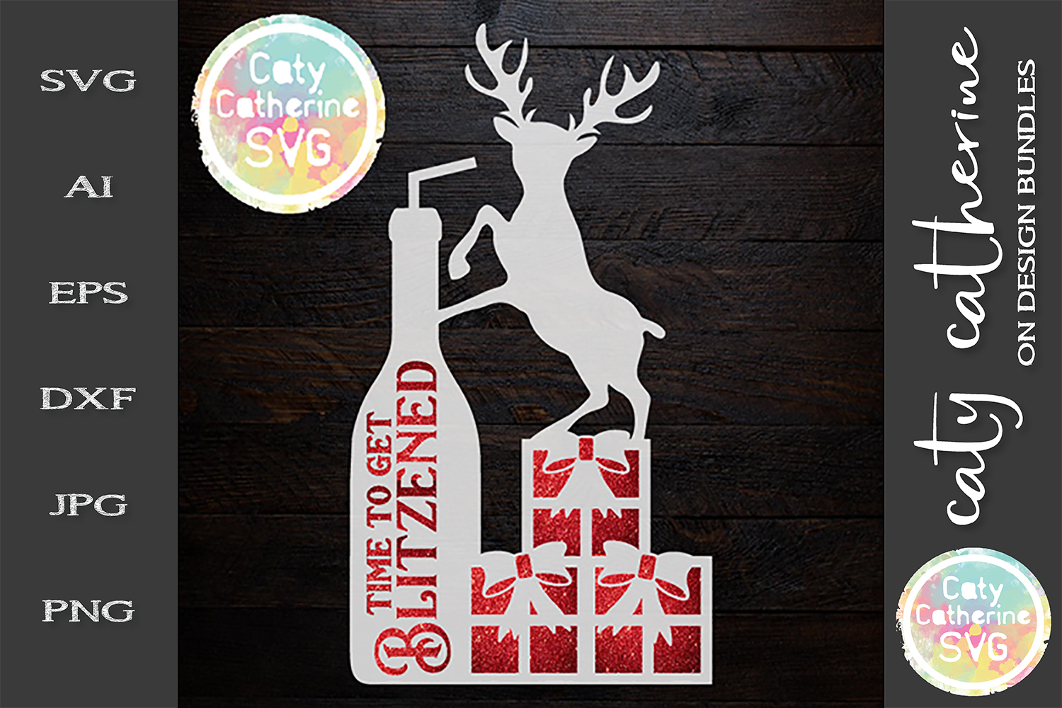 Time To Get Blitzened Christmas Reindeer Wine Presents SVG example image 1