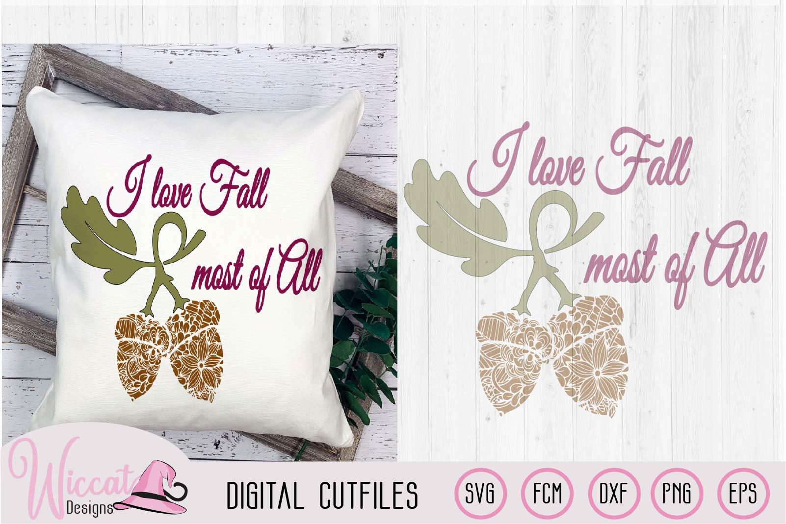 I love fall Doodle acorn, fall quotes yard sign, example image 2